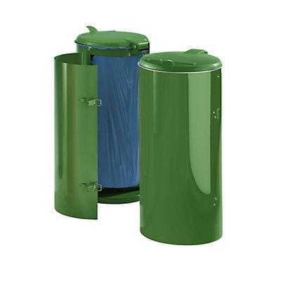 VAR Stahlblech-Abfallsammler für 120-l-Sack - mit Einflügeltür