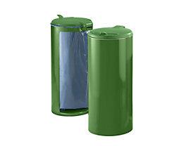Stahlblech-Abfallsammler für 120-l-Sack - Front verblendet - grün mit grünem Kunststoffdeckel