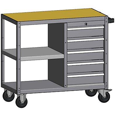 Montagehilfswagen, mit 5 Schubladen - mit 1 Etagenboden, Gesamtbreite 500 mm
