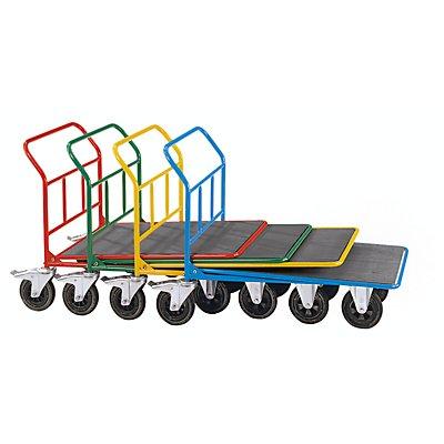 EUROKRAFT Plattform-CC-Wagen - ohne Geländer - Tragfähigkeit 300 kg, 2 Lenkrollen mit Doppelstopp