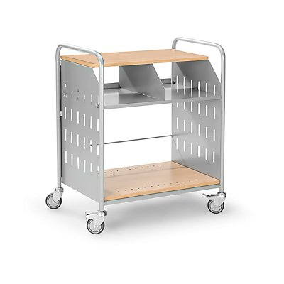 Eurokraft Bürowagen - Büro-Beistellwagen mit 3 Etagen und Fächerteilung - Bürowagen