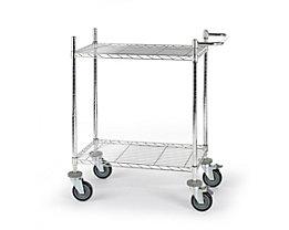 Drahtgitter-Tischwagen - mit Fachböden, LxBxH 760 x 460 x 1025 mm - 2 Etagen