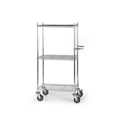 Drahtgitter-Tischwagen - mit Fachböden, LxBxH 760 x 460 x 1350 mm