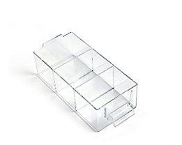 Schublade glasklar, Polystyrol - HxBxT 58 x 80 x 184 mm - VE 20 Stk, 3 Fächer