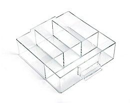 Schublade glasklar, Polystyrol - HxBxT 58 x 167 x 184 mm - VE 4 Stk, 4 Fächer