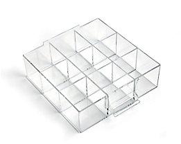 Schublade glasklar, Polystyrol - HxBxT 58 x 167 x 184 mm - VE 4 Stk, 9 Fächer