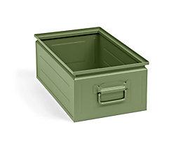 Stapelkasten aus Stahlblech - Inhalt ca. 30 l, resedagrün RAL 6011