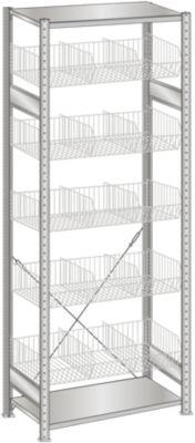 Drahtgitterkorb-Steckregal, verzinkt - BxT 1000 x 500 mm, mit 5 Körben