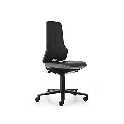 NEON Arbeitsdrehstuhl, Sitzmaterial Kunstleder, Flexband orange