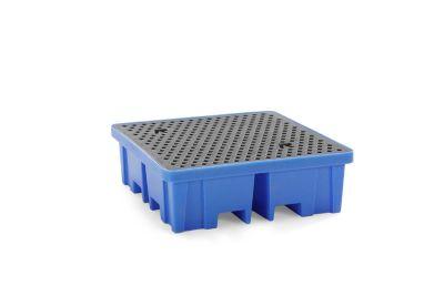 PE-Auffangwanne - LxBxH 1220 x 1220 x 390 mm, für 4 Fässer, mit PE-Gitterrost