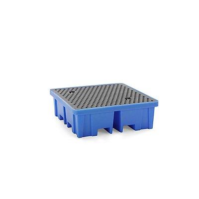 Romold PE-Auffangwanne - LxBxH 1220 x 1220 x 390 mm, für 4 Fässer, mit PE-Gitterrost