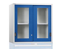 Aufsatzschrank mit Schiebetüren - Türen mit Sichtfenster, enzianblau