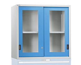 Aufsatzschrank mit Schiebetüren - Türen mit Sichtfenster, lichtblau
