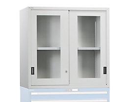 Aufsatzschrank mit Schiebetüren - Türen mit Sichtfenster, lichtgrau
