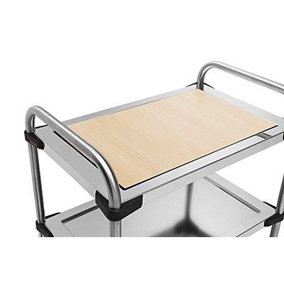 Einlegeboden für Edelstahl-Servierwagen 640-RL - aus Resopal, Buche