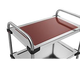 Rieber Einlegeboden für Edelstahl-Servierwagen 640-RL - aus Glas, dunkelrot