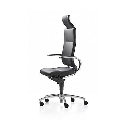 Dauphin Bürodrehstuhl InTouch, Gestell Aluminium, Leder, schwarz
