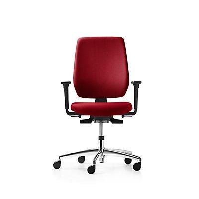 Bürodrehstuhl SPEED-O, Rückenlehne mit Polsterauflage, mit Armlehnen, rot