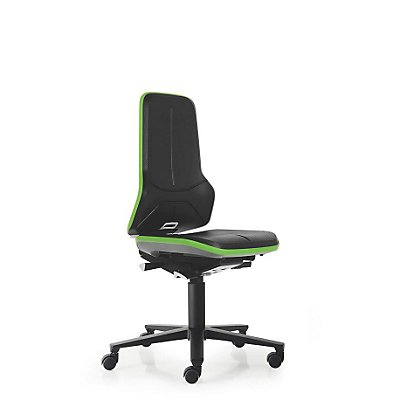 NEON Arbeitsdrehstuhl, mit Rollen, Sitzmaterial Integralschaum, Flexband grün