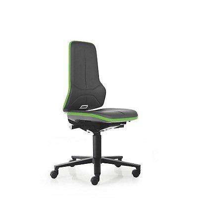 NEON Arbeitsdrehstuhl, mit Rollen, Sitzmaterial Kunstleder, Flexband grün