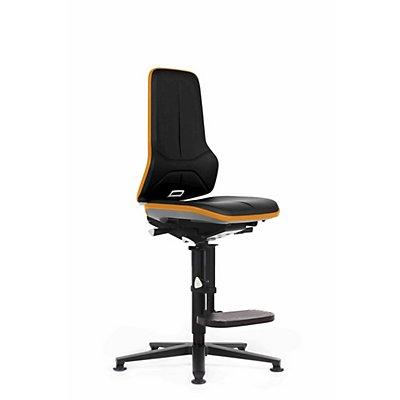 NEON Arbeitsdrehstuhl, mit Gleitern und Aufstiegshilfe, Sitzmaterial Kunstleder, Flexband orange
