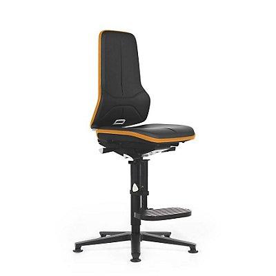 NEON Arbeitsdrehstuhl, mit Gleitern und Aufstiegshilfe, Sitzmaterial Kunstleder, ESD, Flexband grau