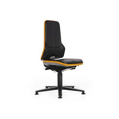 NEON Arbeitsdrehstuhl, mit Gleitern, Sitzmaterial Kunstleder, Flexband orange