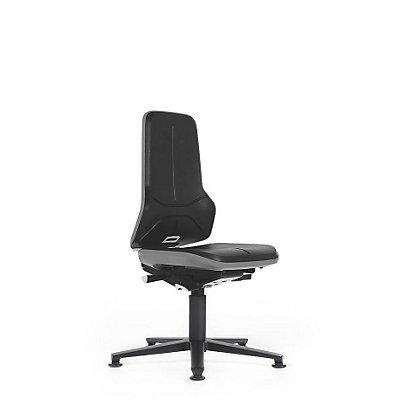 NEON Arbeitsdrehstuhl, mit Gleitern, Sitzmaterial Integralschaum, Flexband orange
