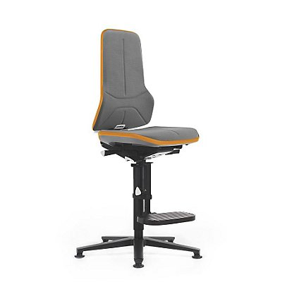NEON Arbeitsdrehstuhl, mit Gleitern und Aufstiegshilfe, Supertec, Flexband orange