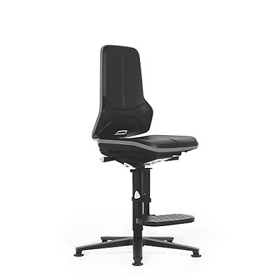 NEON Arbeitsdrehstuhl, mit Aufstiegshilfe, Sitzmaterial Integralschaum, ESD, Flexband grau