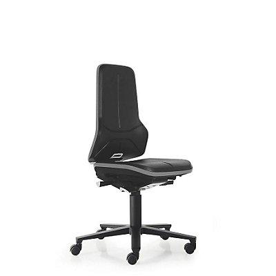 NEON Arbeitsdrehstuhl, mit Rollen, Sitzmaterial Integralschaum, ESD, Flexband orange