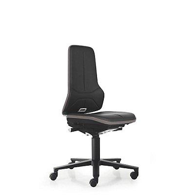 NEON Arbeitsdrehstuhl, mit Rollen, Sitzmaterial Kunstleder, ESD, Flexband orange