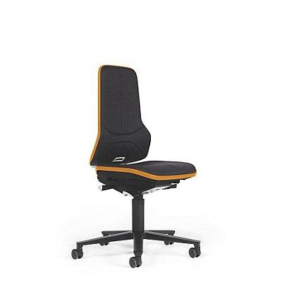 NEON Arbeitsdrehstuhl, mit Rollen, Sitzmaterial Stoff, ESD, Flexband orange