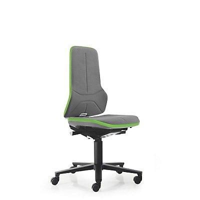 NEON Arbeitsdrehstuhl, mit Rollen, Sitzmaterial Supertec, Flexband grün