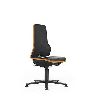 NEON Arbeitsdrehstuhl, mit Gleitern, Sitzmaterial Kunstleder, ESD, Flexband grau