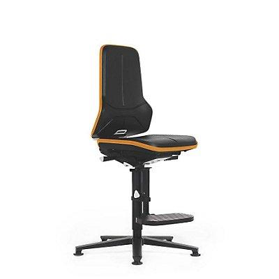 NEON Arbeitsdrehstuhl, mit Gleitern und Aufstiegshilfe, Sitzmaterial Integralschaum, ESD, Flexband grau