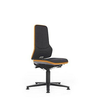 NEON Arbeitsdrehstuhl, mit Gleitern, Sitzmaterial Stoff, Flexband orange