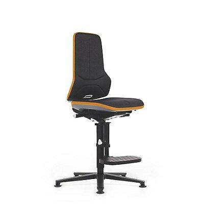 NEON Arbeitsdrehstuhl, mit Gleitern und Aufstiegshilfe, Sitzmaterial Stoff, Flexband grau