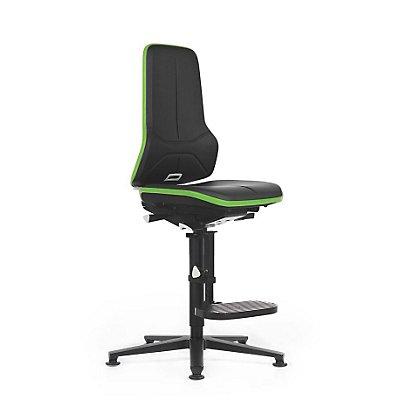 NEON Arbeitsdrehstuhl, mit Aufstiegshilfe, Sitzmaterial Kunstleder, ESD, Flexband grau