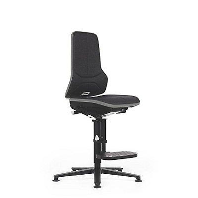 NEON Arbeitsdrehstuhl, mit Gleitern und Aufstiegshilfe, Sitzmaterial Stoff, ESD, Flexband orange