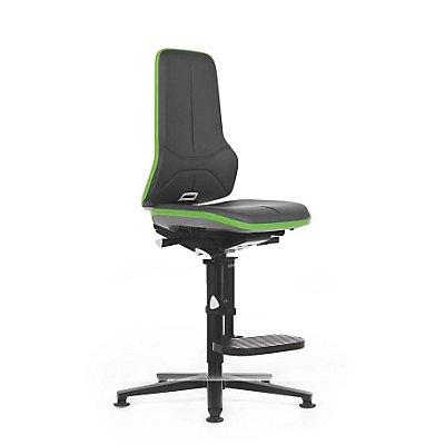 NEON Arbeitsdrehstuhl, mit Aufstiegshilfe, Sitzmaterial Kunstleder, Flexband grün