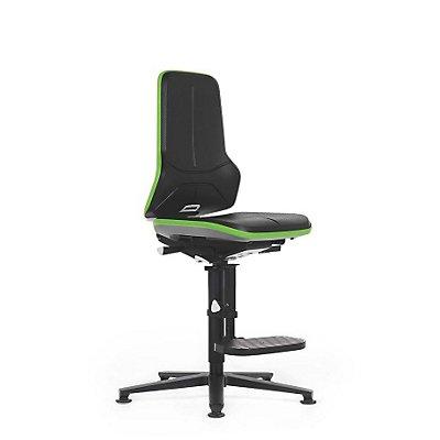 NEON Arbeitsdrehstuhl, mit Gleitern und Aufstiegshilfe, Sitzmaterial Integralschaum, Flexband orange
