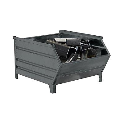 Heson Stapelbehälter aus Stahlblech, mit Entnahmeöffnung - Länge x Breite 700/500 x 800 mm