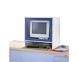 RAU Monitorgehäuse mit integriertem Aktivlüfter - HxBxT 710 x 710 x 550 mm - lichtgrau / enzianblau
