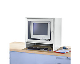 RAU Monitorgehäuse mit integriertem Aktivlüfter - HxBxT 710 x 710 x 550 mm - lichtgrau RAL 7035