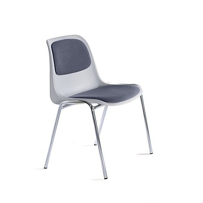 chaise empilable en plastique rembourr e coque grise. Black Bedroom Furniture Sets. Home Design Ideas
