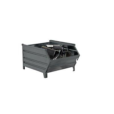 Heson Stapelbehälter aus Stahlblech, mit Entnahmeöffnung - Länge x Breite 700/500 x 800 mm - grau RAL 7005