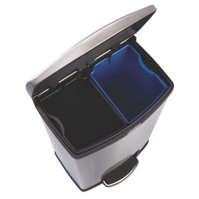 Rubbermaid Edelstahl-Tretabfallsammler, Breite 326 mm - HxT 555 x 428 mm, 2 Sammeleinheiten, schwarzer Rand