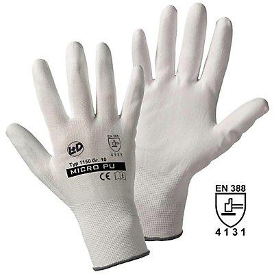 Handschuhe MICRO-PU, weiß, VE 24 Paar, Größe 10