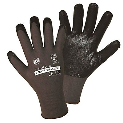 Handschuhe FOAM BLACK - grau / schwarz, VE 12 Paar